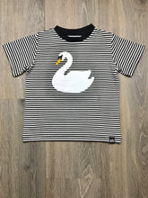 Load image into Gallery viewer, Whistle and Flute Striped Swan Baby and Girls T-shirt