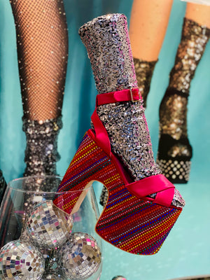 Disco Socks Silver Sequin
