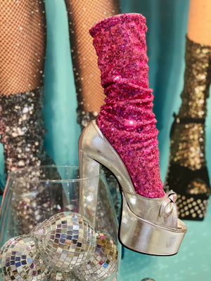Disco Socks Pink Sequin
