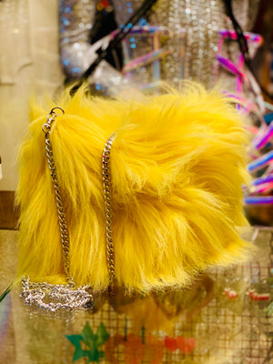 Faux Fur Shoulder Bag with silver chain