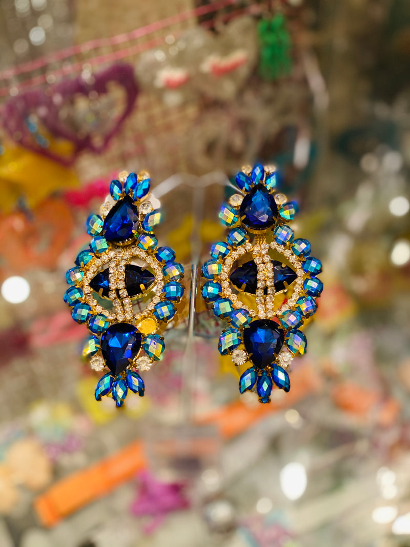 Spectacular Oversized Statement Earrings (Blue-Tone)