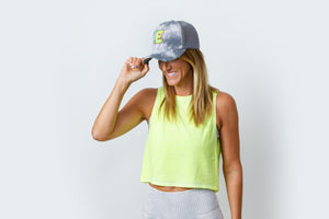 Initial Trucker Hat - Tie-Dye Grey/Neon Yellow