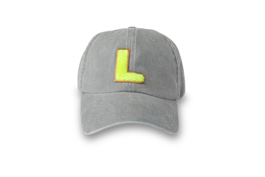 Initial Hat - Washed Grey/Neon Yellow