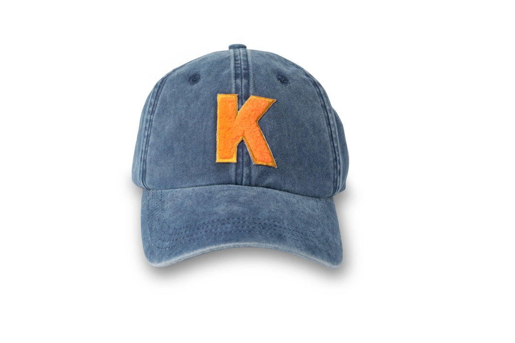 Initial Hat - Washed Navy/Neon Orange
