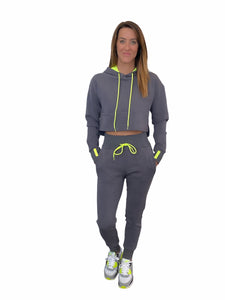 Vigeō Grey/Neon Yellow - Cropped Hoodie & High Waisted Jogger Set