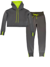 Load image into Gallery viewer, Vigeō Grey/Neon Yellow - Cropped Hoodie & High Waisted Jogger Set