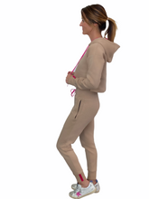 Load image into Gallery viewer, Vigeō Tan/Neon Pink - Cropped Hoodie & High Waisted Jogger Set