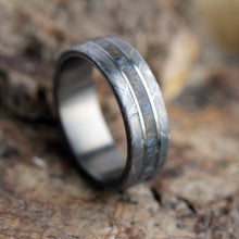 Load image into Gallery viewer, Dinosaur Bone Ring With Meteorite Edges Separated By Titanium-1855 - Jewelries-World