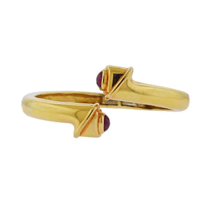 David Webb Ruby Gold Crossover Bangle Bracelet - Jewelries-World