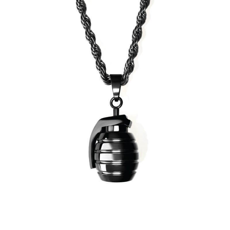 Grenade Necklace - All Black - Jewelries-World