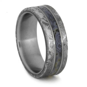 Dinosaur Bone Ring With Meteorite Edges Separated By Titanium-1855 - Jewelries-World