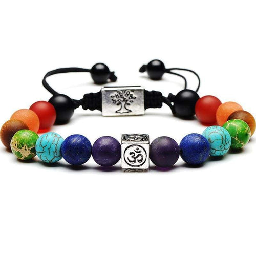 Chakra Tree Of Life Weaved Rope Charm Bracelet Gold - Jewelries-World