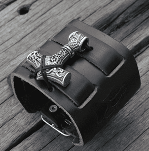 Leather Mammen Mjolnir Bracelet - Jewelries-World