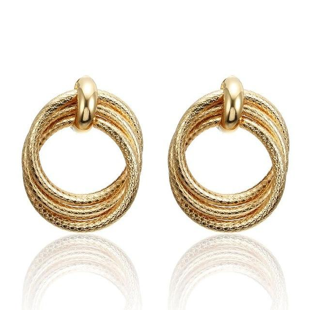 Geometric Round Gold Earrings - Jewelries-World