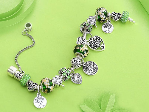 Green Tree of Life Silver Bracelet - Jewelries-World