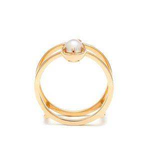 Reverse Attelage Ring (Size 6.75) - Yellow Gold, Pearl & White Diamond - Jewelries-World