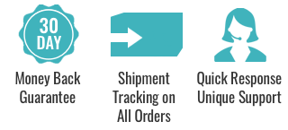 we offer a thirty day money back guarantee, shipment tracking on all orders and quick response customer support.