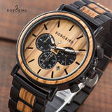 BOBO BIRD P09 Wood and Stainless Steel Watches Mens