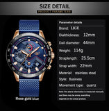 2019 New LIGE Blue Casual Mesh Belt Fashion Quartz Gold Watch Mens Watches Top Brand Luxury Waterproof Clock Relogio Masculino - ShopyMart