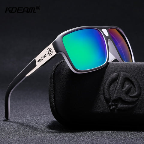 KDEAM New Mirror Sunglasses Men Sports Eyewear Women Polarized Big Size Sun Glasses UV400 Protection With Hard Case KD520 - ShopyMart