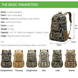 Hot Top Quality Large 50L Waterproof Molle Military Tactical Backpack Hunting Hiking Camping Rucksack Army Backpack Sports Bag - ShopyMart