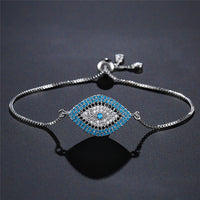 NEWBUY 2018 Trendy Turkish Gold Evil Eye Bracelet Pave CZ Blue Eye Gold Chain Bracelet Adjustable Female Party Jewelry - ShopyMart