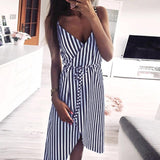 KANCOOLD dress Women Stripe Printing Sleeveless Off Shoulder Dress Evening Party Vest Empire Sashes dress women 2018AUG1 - ShopyMart