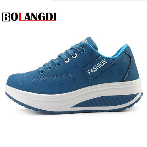Bolangdi New Platform Chaussure Femme Sport Shoes Woman Leather Lady Sports Shoes Summer Running Shoes Women's Sneakers Walk - ShopyMart