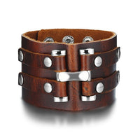 Men Stylish Wide Leather Bracelet Punk Braided Rope Alloy Cuff Bangle Male Wristband Mens Jewelry - ShopyMart