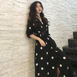SuperAen Summer Women's Dress Korean Style Fashion V-neck Ladies Long Dress Casual Half Sleeve Dot Dress Female New 2018 - ShopyMart