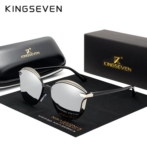 KINGSEVEN Brand Design Cat Eye Sunglasses Women polarized Luxury Alloy Frame+TR90 Sun Glasses Fashion Retro Oculos De Sol Gafas - ShopyMart