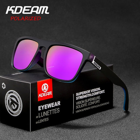 New arrived KDEAM Mirror Polarized Sunglasses Men Square Sport Sun Glasses Women UV gafas de sol Metal hinge UV400 KD156 - ShopyMart
