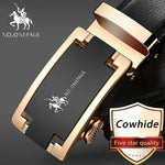 NO.ONEPAUL Brand Fashion Automatic Buckle Black Genuine Leather Belt Men's Belts Cow Leather Belts for Men 3.5cm Width WQE789 - ShopyMart