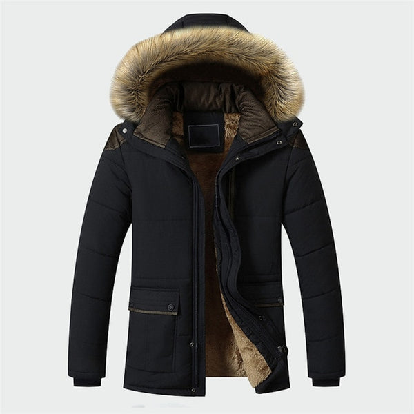 Slim Thick Warm Mens Coats Parkas With Hooded