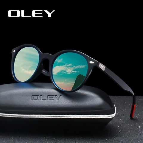 OLEY Brand Men Women Classic Retro Rivet Polarized Sunglasses Fashion circular design 100% UV400 Protection Accept custom logo - ShopyMart