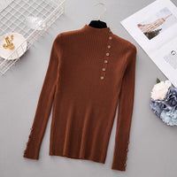 New Fashion Button Turtleneck Sweater Women Spring Autumn Solid Knitted Pullover Women Slim Soft Jumper Sweater Female Knit Tops - ShopyMart