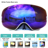 UV400 Anti-fog Double Layers Ski Goggles Big Lens Ski Mask Glasses Skiing Snow Snowboard Eyewear Mirror polarize Goggles for men