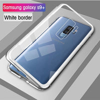 Eqvvol Magnetic Adsorption Metal Case For Samsung Galaxy S9 S8 Plus S7 Edge Tempered Glass Back Magnet Cover For Note 8 9 Cases - ShopyMart