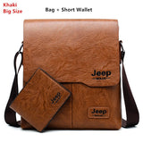 Men Tote Bags Set JEEP BULUO Famous Brand New Fashion Man Leather Messenger Bag Male Cross Body Shoulder Business Bags For Men - ShopyMart