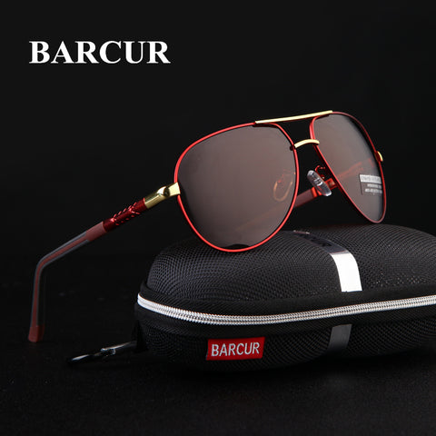BARCUR Aluminum Magnesium Men's Sunglasses Men Polarized Coating Mirror Glasses oculos Male Eyewear Accessories For Men - ShopyMart
