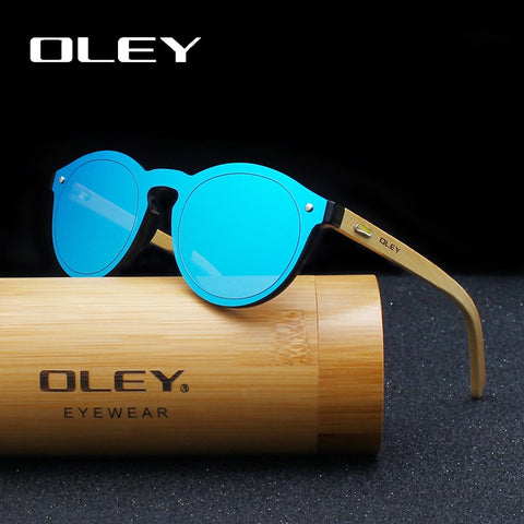 OLEY  Brand Bamboo Leg Color Film Sunglasses Women Classic Round Overall Flat Lens Fashion Retro Female sun glasses Z0479 - ShopyMart