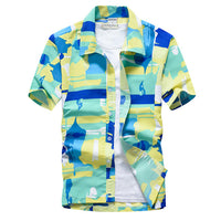Pink Hawaiian Beach Short Sleeve Shirt Men 2019 Summer Fashion Palm Tree Print Tropical Aloha Shirts Mens Party Holiday Chemise - ShopyMart