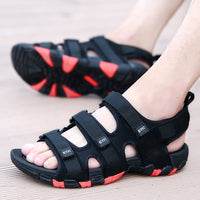 Summer Men Sandals Hook&loop Men's Summer Shoes 2019 Fashion Waterproof Casual Beach Shoes Size:39-44 Black - ShopyMart