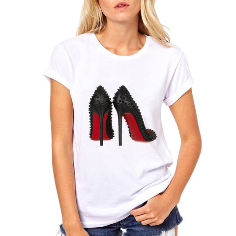 Fashion High Heels Print Funny Summer T shirt Women Vogue Princess Short Sleeve T-Shirt Cheap Female Tops - ShopyMart