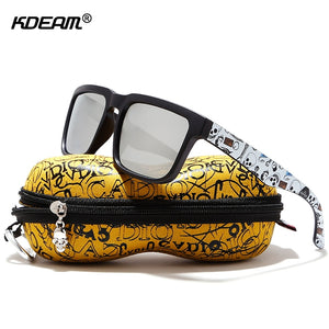 KDEAM Eye-catching Function Polarized Sunglasses For Men Matte Black Frame Fit. Painting Temples Play-Cool Sun Glasses With Case - ShopyMart