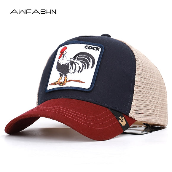 Rooster animal embroidery baseball caps men's and women's universal adjustable high quality outdoor sunshade summer net hats - ShopyMart