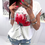 Women Short Sleeve T-Shirt Casual Floral Print ladies Loose Top Shirt Tee fashion female Print Short Sleeve top camisetas mujer - ShopyMart