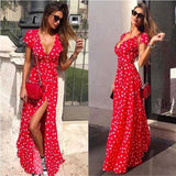 liva girl Summer Ladies Long Dress Red White Dot Beach Dress Maxi Dress Women Evening Party Dress Sundress Vestidos de festa2019 - ShopyMart