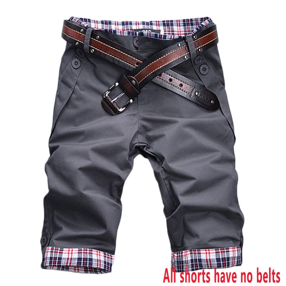 GZHOUSE Summer Mens Shorts Knee Length Casual Baggy Shorts Plaid Pockets Cargo Short Pants Checks Trousers Male Green - ShopyMart