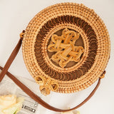 Round Straw Beach Bag Vintage Handmade Woven Shoulder Bag Raffia circle Rattan bags Bohemian Summer Vacation Casual Bags - ShopyMart